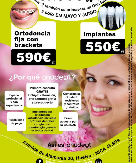 Promoción Primavera en Implantes y Ortodoncia con Brackets en Onudent, dentista en Huelva